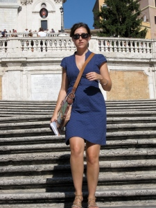 walking down the Spanish Steps