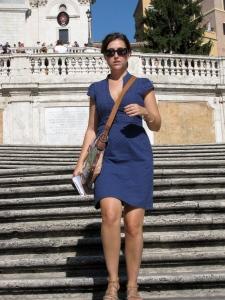 walking down the Spanish Steps